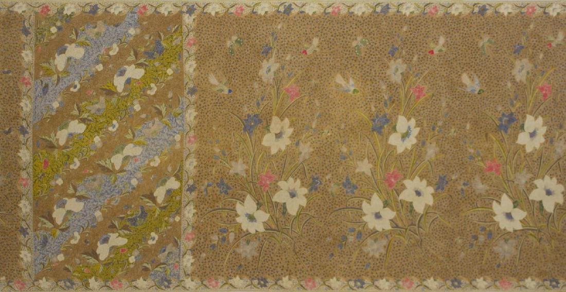 (2) FRAMED & MOUNTED COTTON FLORAL SARONGS, 20TH C - 6