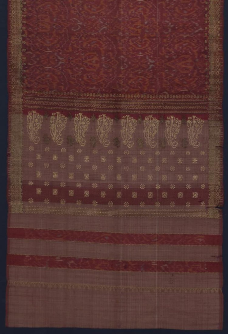 LARGE FRAMED & MOUNTED EMBROIDERED RED SARI