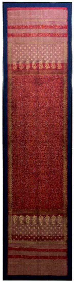 LARGE FRAMED & MOUNTED EMBROIDERED RED SARI - 2