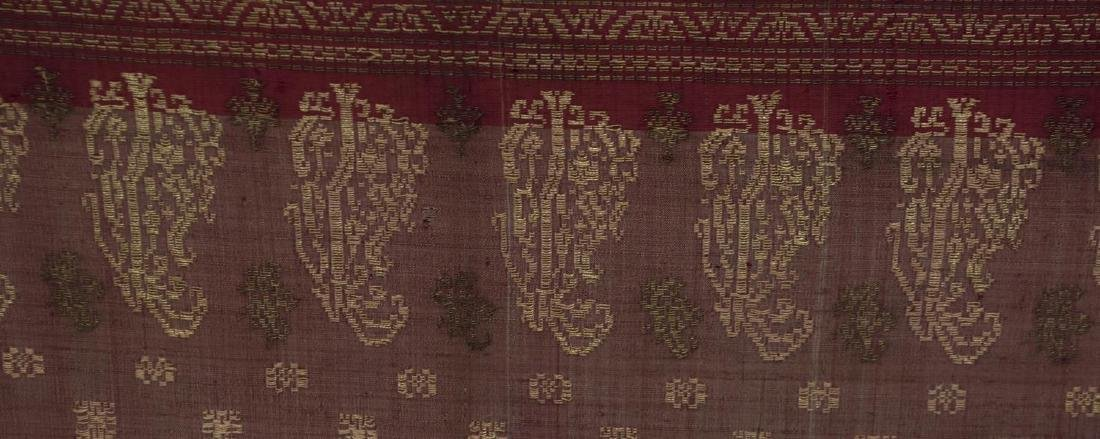 LARGE FRAMED & MOUNTED EMBROIDERED RED SARI - 4