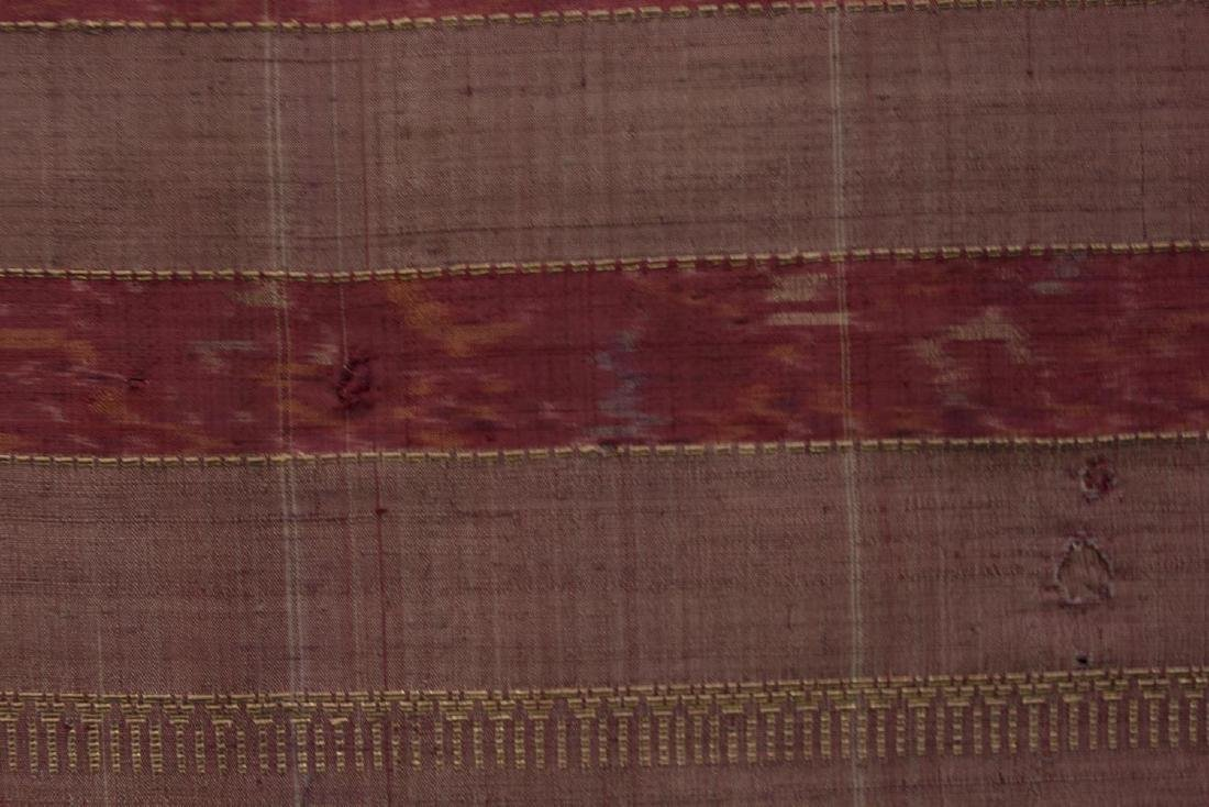 LARGE FRAMED & MOUNTED EMBROIDERED RED SARI - 6