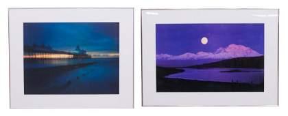 2 FRAMED OFFSET PHOTOGRAPH PRINTS NIGHT SCENES