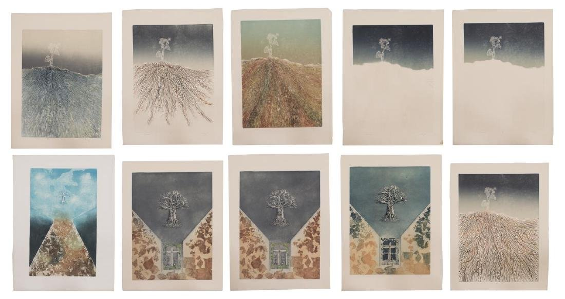 (10) UMFRAMED COLOR ETCHINGS, SIGNED MAIDY 1974