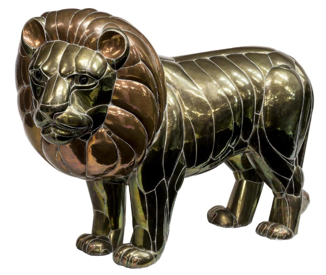 "LARGE COPPER & BRASS LION, SERGIO BUSTAMANTE, 50""W"