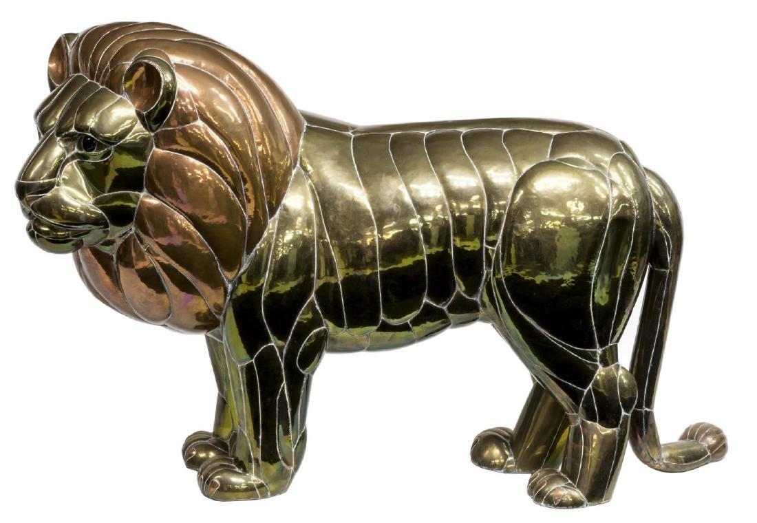 "LARGE COPPER & BRASS LION, SERGIO BUSTAMANTE, 50""W - 2"