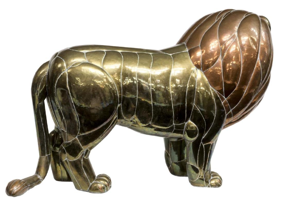 "LARGE COPPER & BRASS LION, SERGIO BUSTAMANTE, 50""W - 3"
