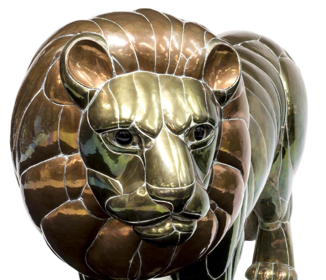 "LARGE COPPER & BRASS LION, SERGIO BUSTAMANTE, 50""W - 4"