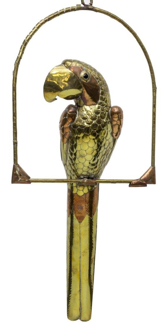 COPPER & BRASS PARROT, ATTRIB. SERGIO BUSTAMANTE