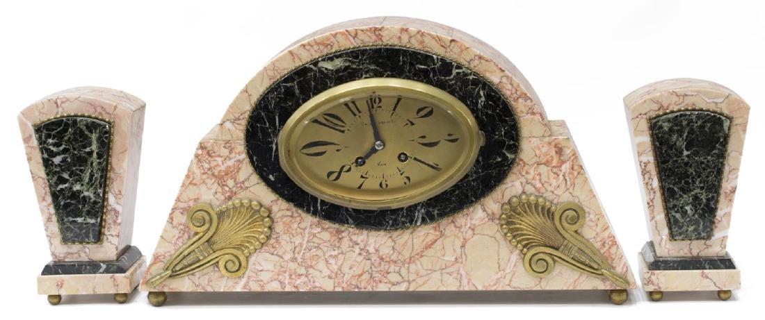 (3) JAPY FRERES VINCENT GAGLIO ART DECO CLOCK SET