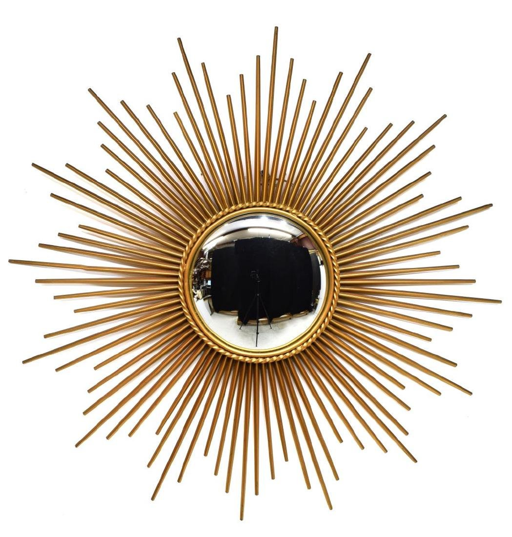 FRENCH CHATTY VALLAURIS METAL SUNBURST WALL MIRROR - 2