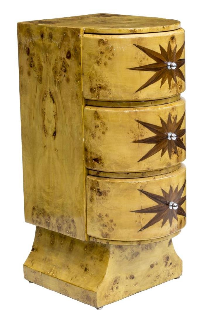 FRENCH DECO STYLE BURL MAPLE BEDSIDE CABINET - 2