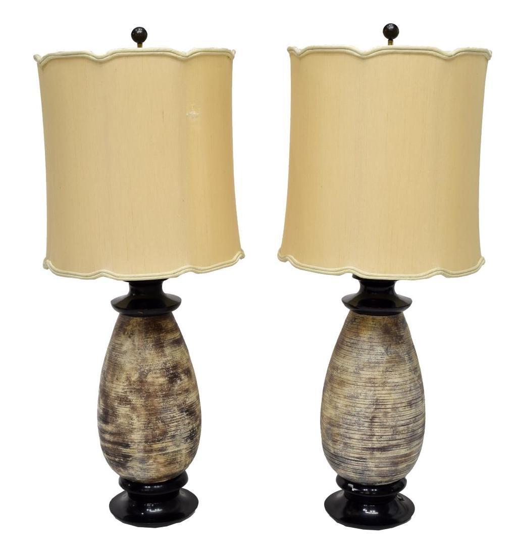 (PAIR) JAMES MONT CERAMIC TABLE LAMPS - 2