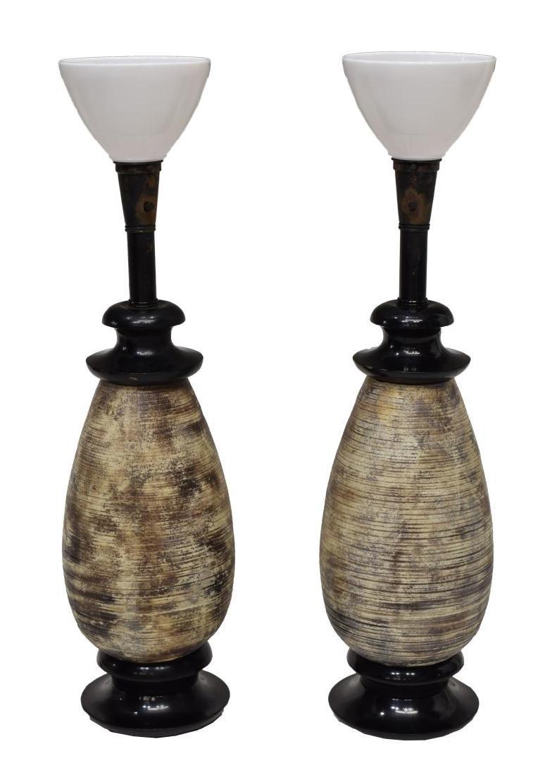 (PAIR) JAMES MONT CERAMIC TABLE LAMPS - 3