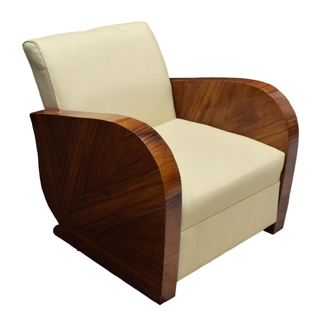 FRENCH ART DECO STYLE LEATHER ARM CHAIR