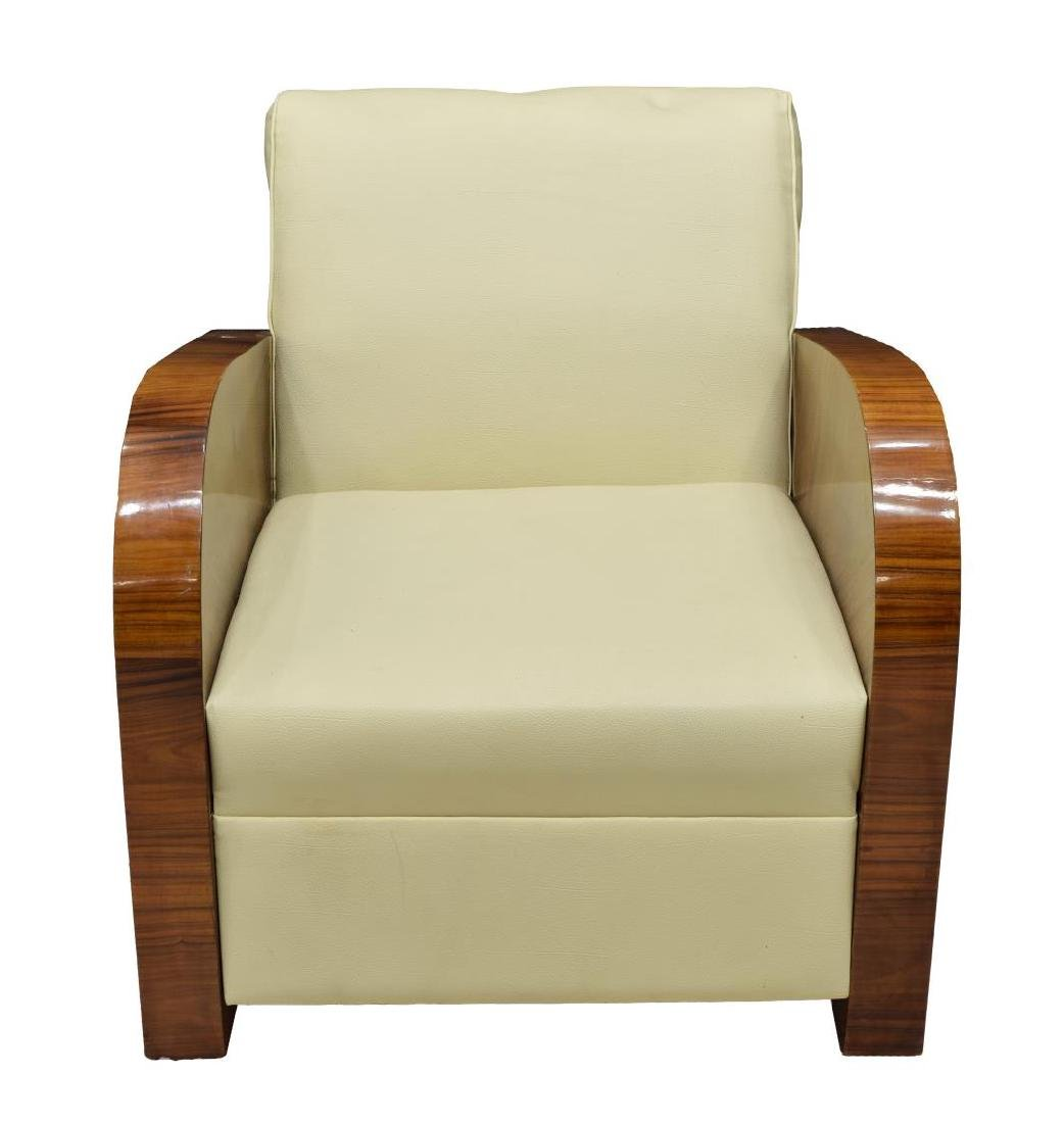 FRENCH ART DECO STYLE LEATHER ARM CHAIR - 2