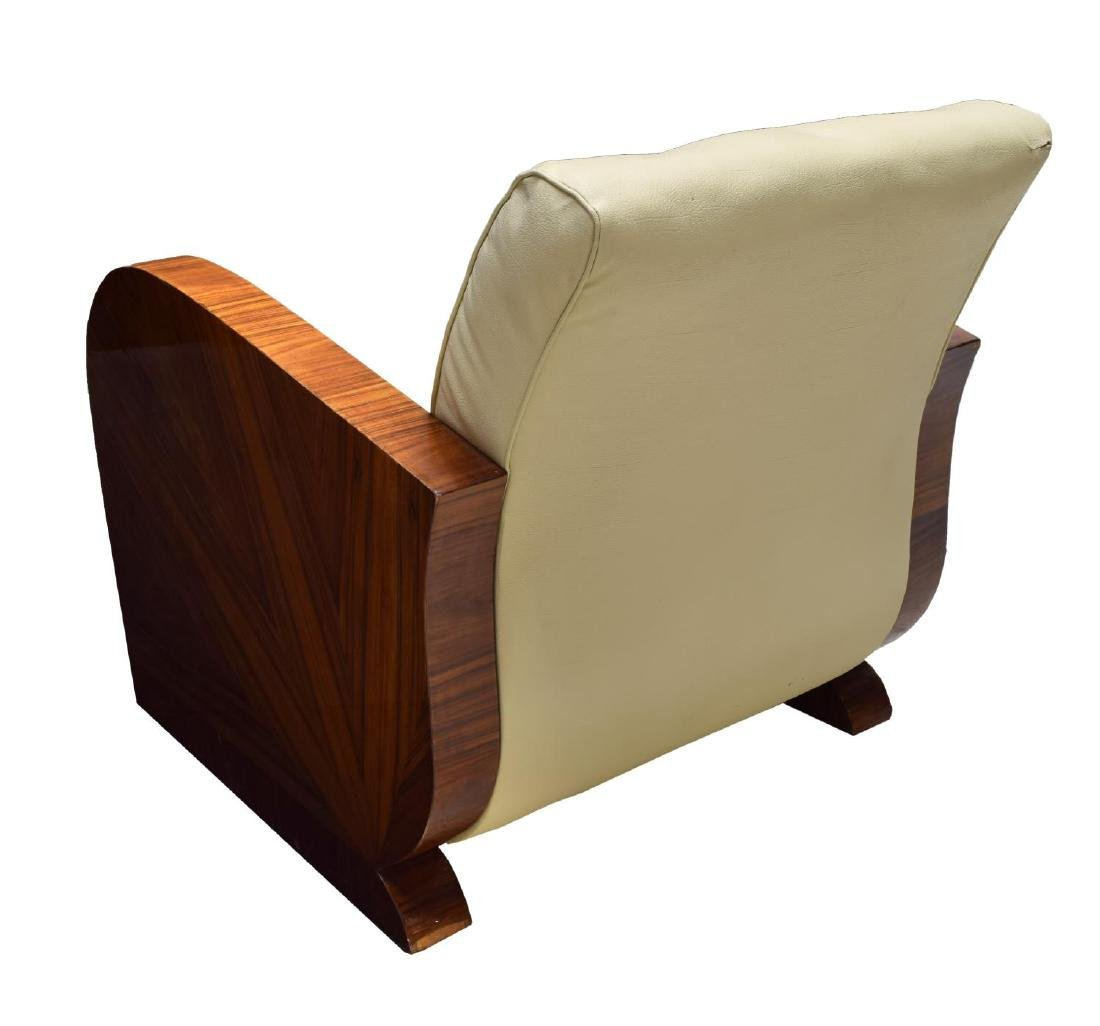 FRENCH ART DECO STYLE LEATHER ARM CHAIR - 3