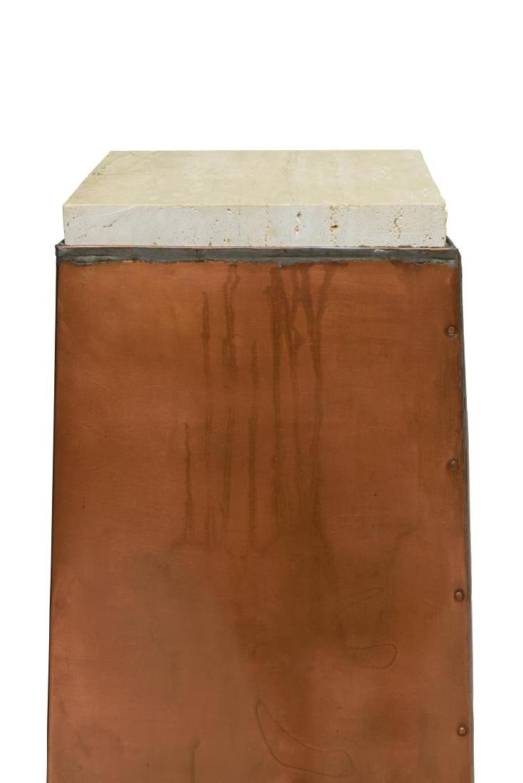 CONTEMPORARY COPPER & STONE PEDESTAL - 4