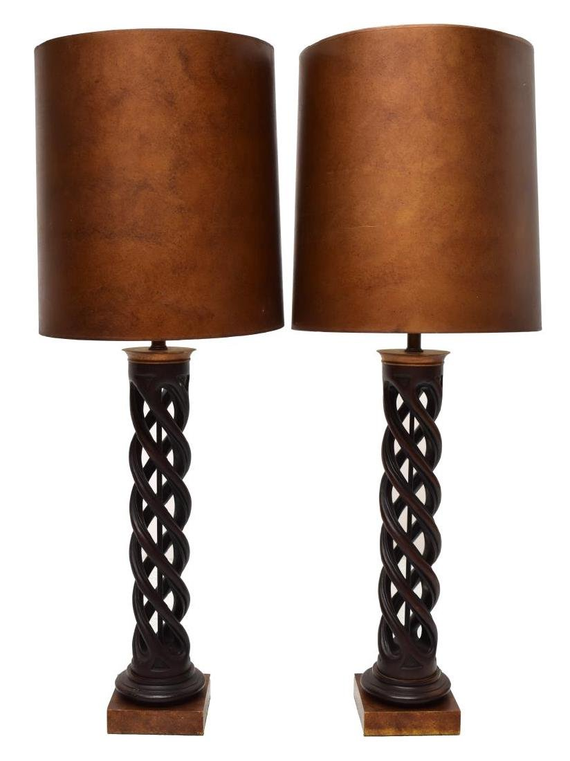 "(PAIR) JAMES MONT ""HELIX"" LAMPS, ORIGINAL SHADES - 2"
