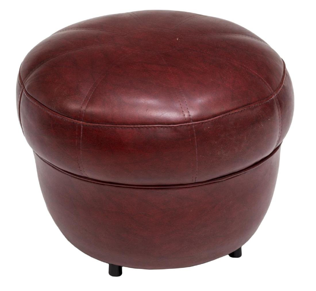 ITALIAN MODERN RED FAUX LEATHER STOOL