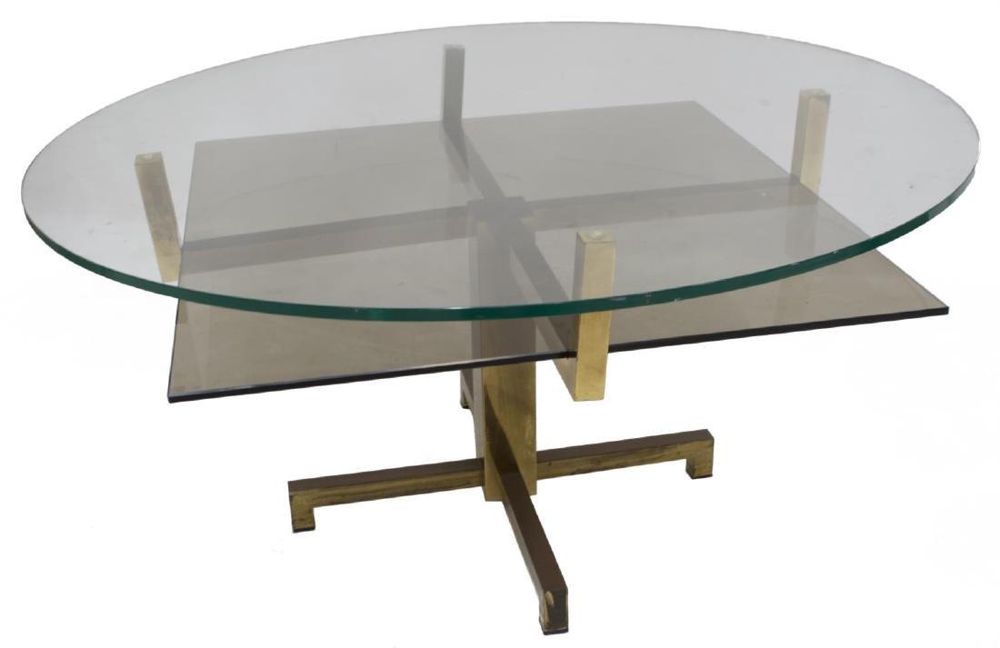 ITALIAN MODERN GLASS & BRASS COFFEE TABLE
