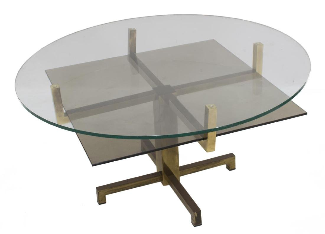 ITALIAN MODERN GLASS & BRASS COFFEE TABLE - 2