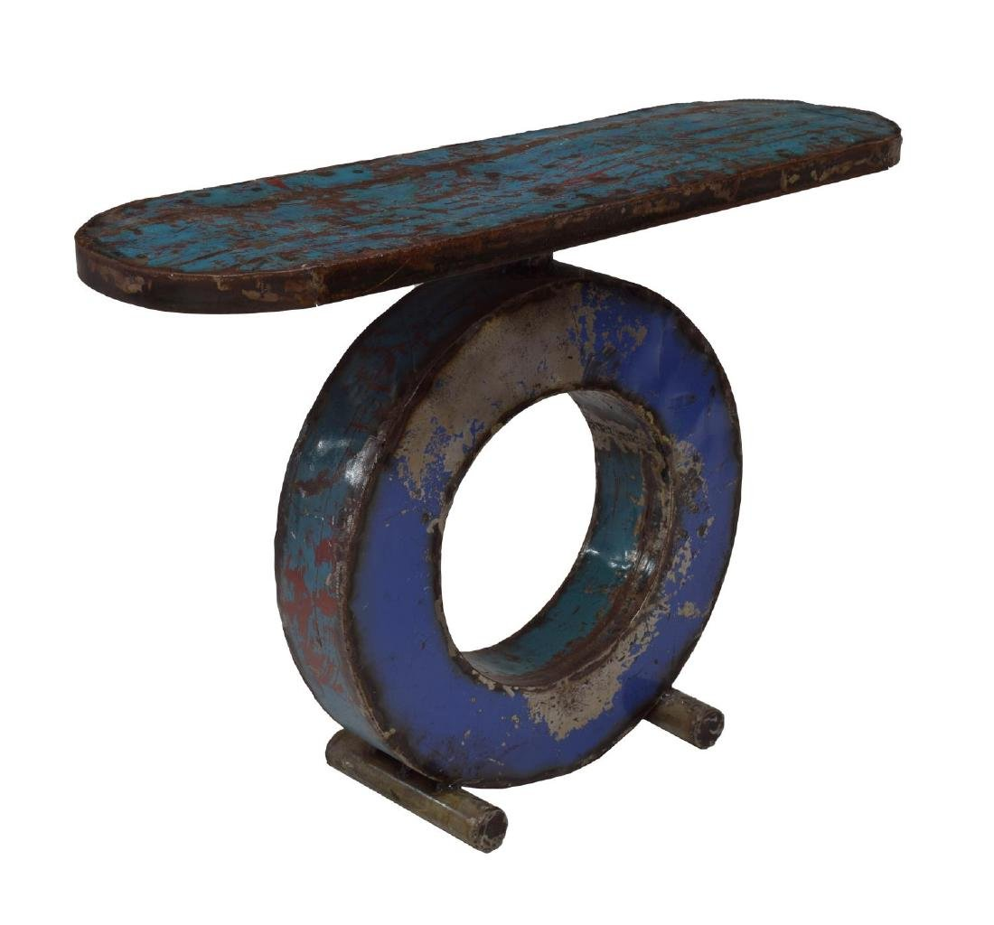 CONTEMPORARY POLYCHROME METAL CONSOLE TABLE