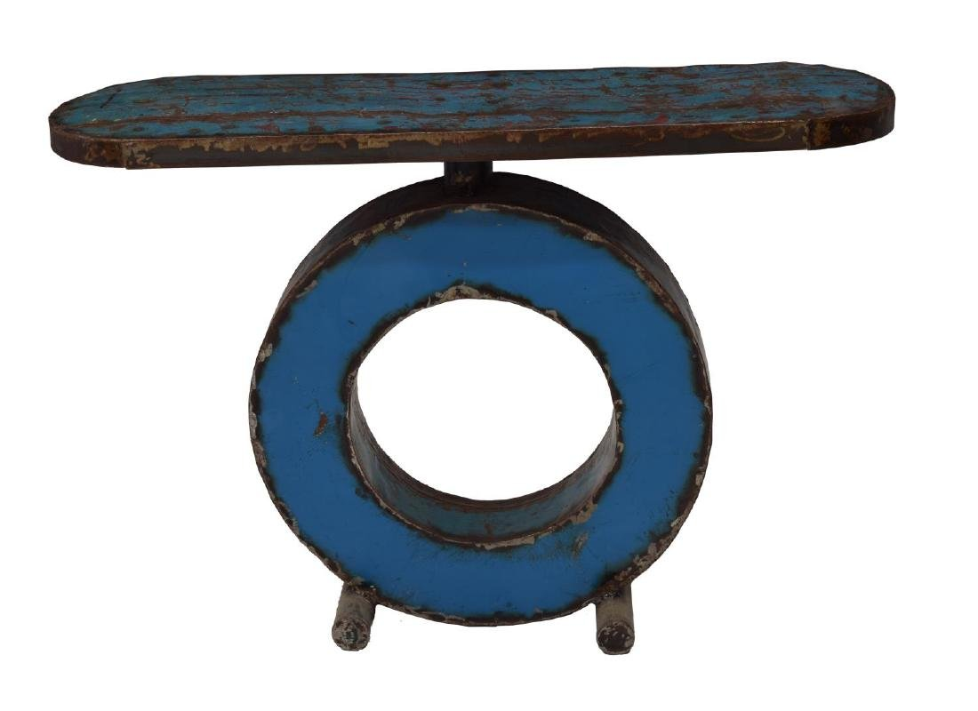 CONTEMPORARY POLYCHROME METAL CONSOLE TABLE - 4