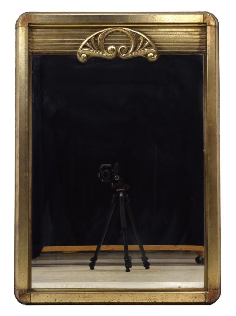 ART DECO SILVER TONE METAL HANGING WALL MIRROR - 2