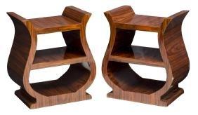(PAIR) FRENCH ART DECO MAHOGANY SIDE TABLES