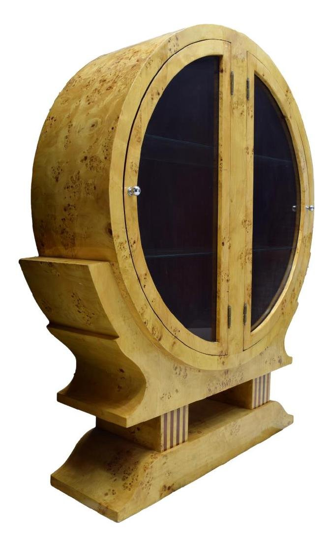 FRENCH DECO STYLE BIRDS EYE MAPLE ROUND CABINET