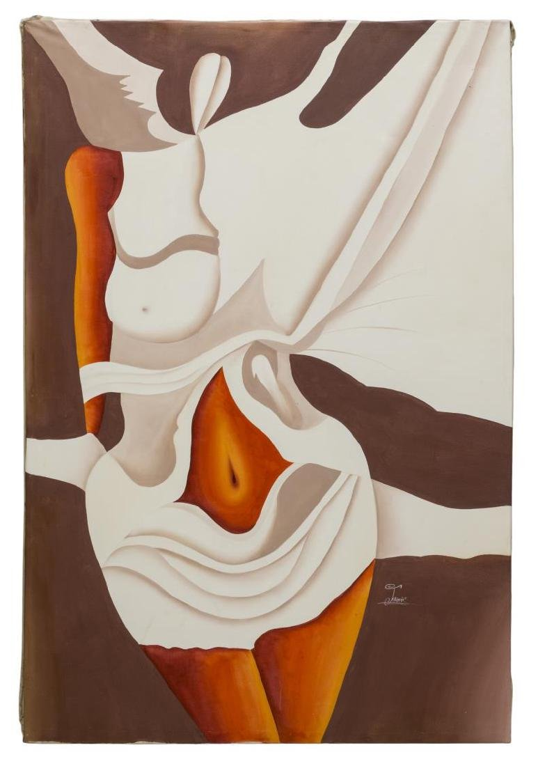 UNFRAMED PAINTING, ABSTRACT FEMALE NUDE FIGURE