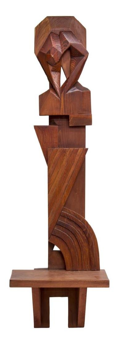 MODERN ABSTRACT CARVED WOOD HANGING WALL SHELF