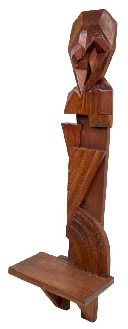 MODERN ABSTRACT CARVED WOOD HANGING WALL SHELF - 2