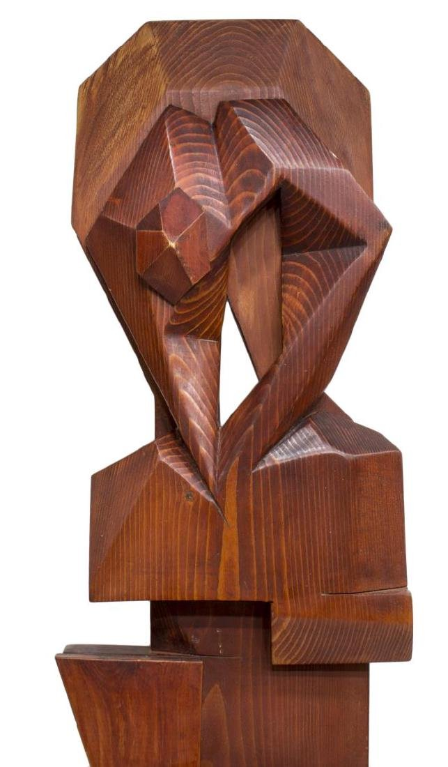 MODERN ABSTRACT CARVED WOOD HANGING WALL SHELF - 3