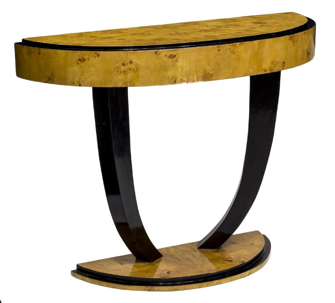 FRENCH DECO STYLE BIRDS EYE MAPLE CONSOLE TABLE