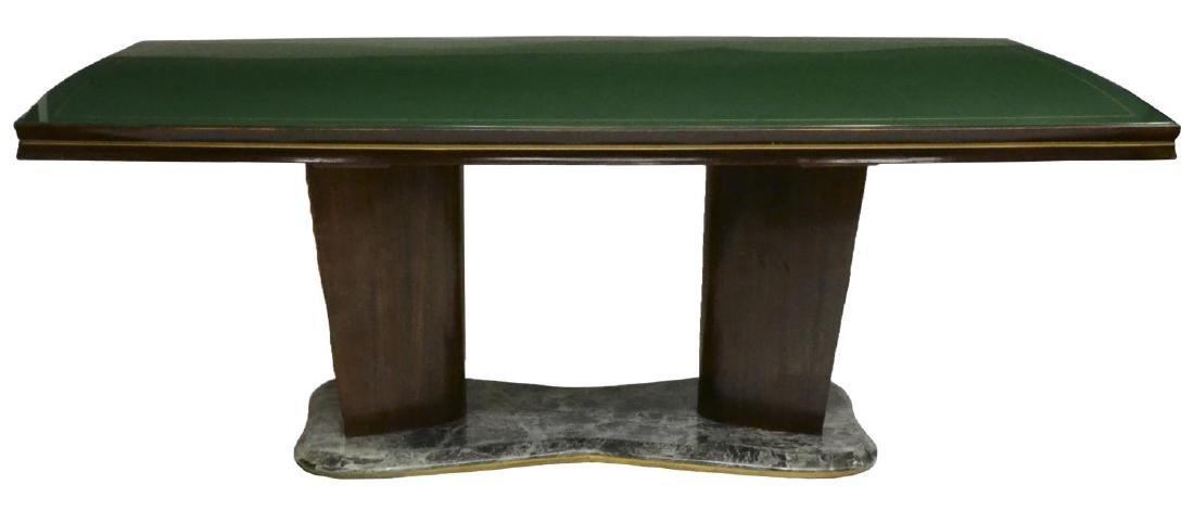 OSVALDO BORSANI GLASS TOP DOUBLE PEDESTAL TABLE - 2