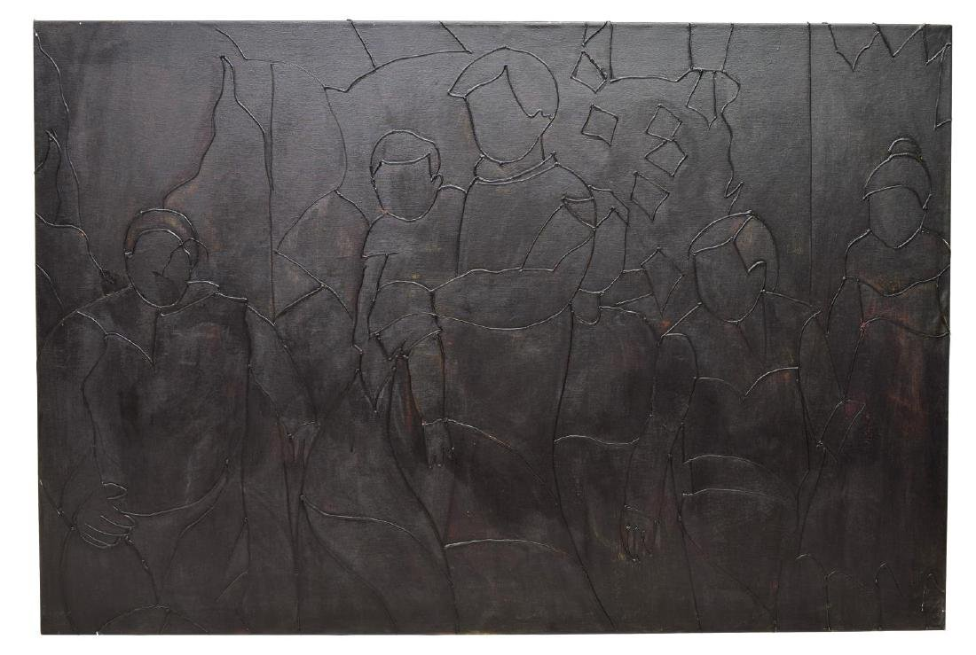 A. VALENCIA PAINTING, BLACK ABSTRACT FIGURES