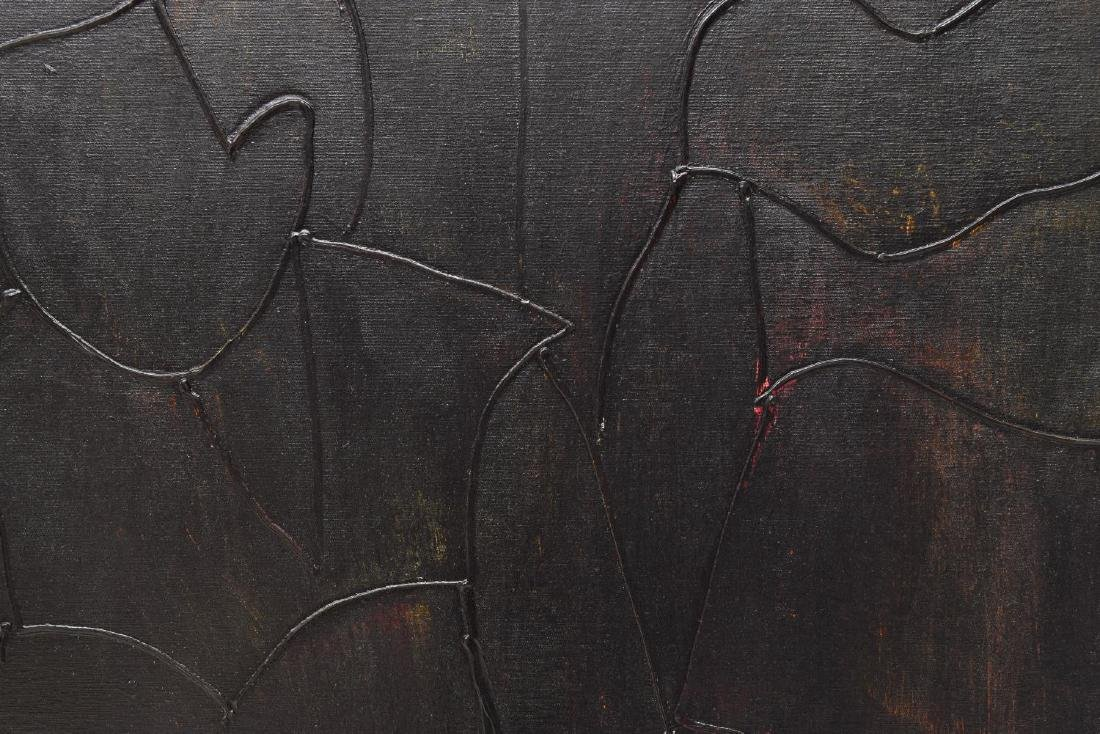 A. VALENCIA PAINTING, BLACK ABSTRACT FIGURES - 2