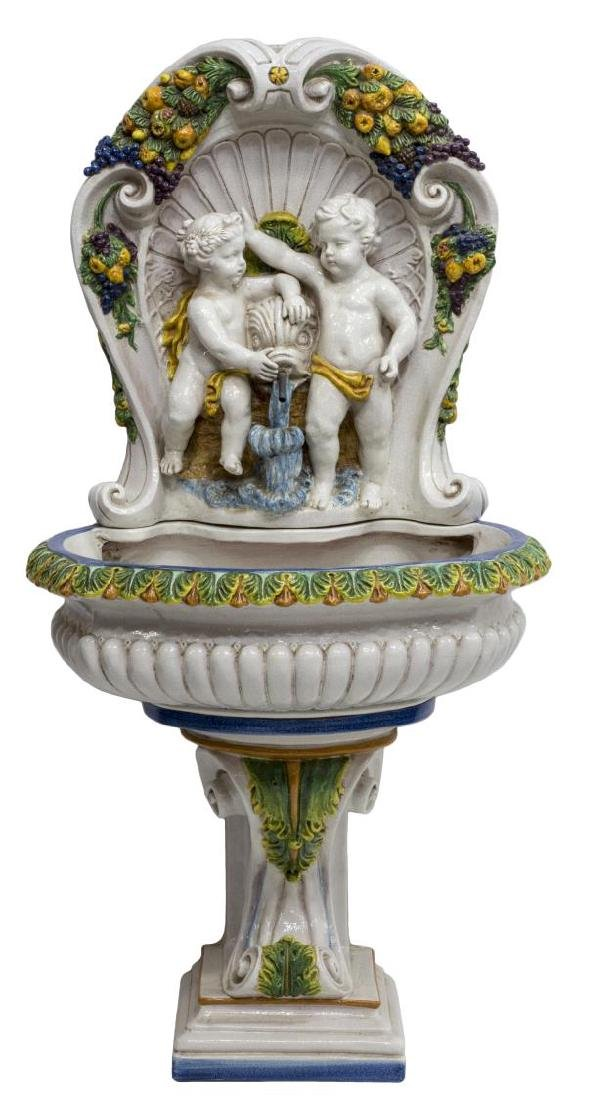 GLAZED CERAMIC PEDESTAL FOUNTAIN, POSITANO, ITALY - 2