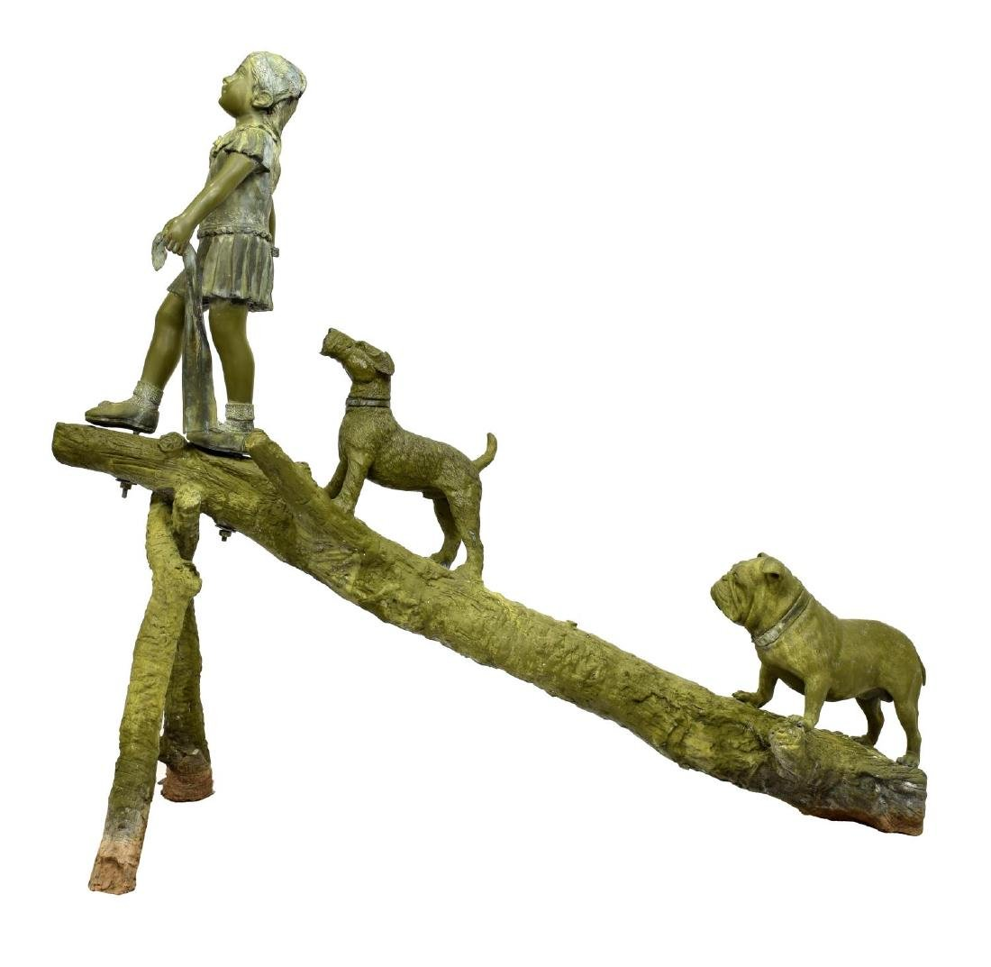 BRONZE STATUE, LIFESIZE CHILD, DOGS PLAYING ON LOG