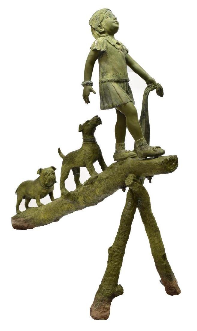 BRONZE STATUE, LIFESIZE CHILD, DOGS PLAYING ON LOG - 2
