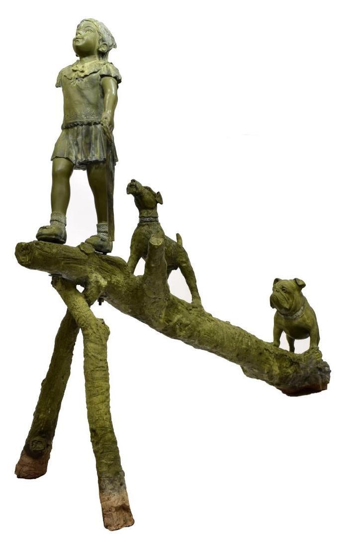 BRONZE STATUE, LIFESIZE CHILD, DOGS PLAYING ON LOG - 4