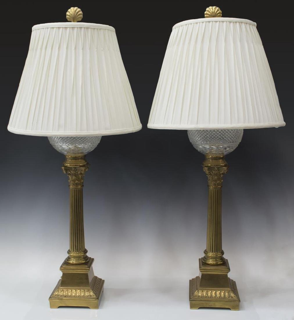 (2) CUT CRYSTAL & GILT METAL COLUMNAR TABLE LAMPS