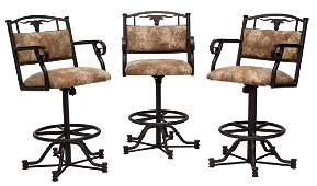 3 LONGHORN STATIONARY SWIVEL METAL BAR CHAIRS