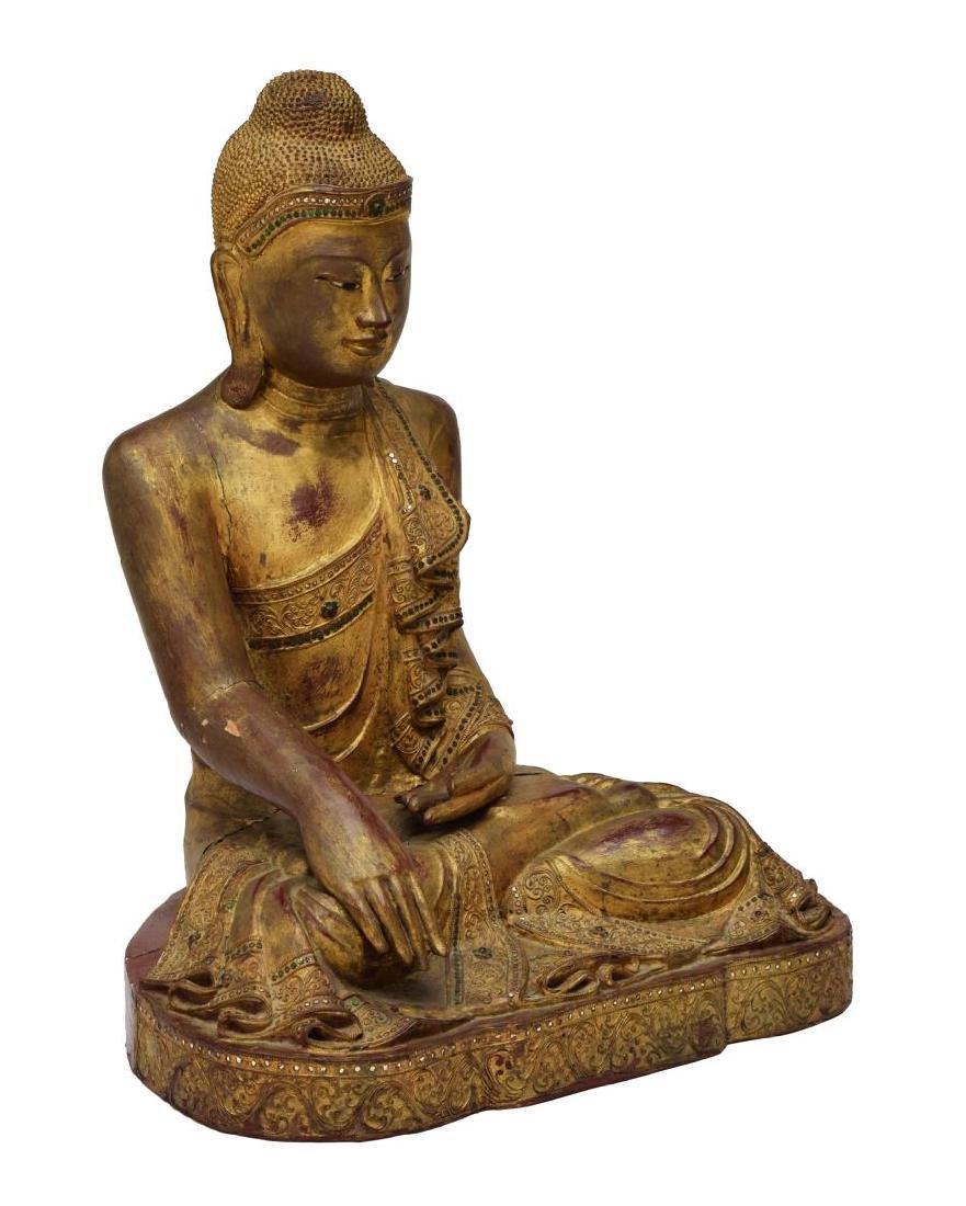THAI GILT & CARVED SEATED BUDDHA STATUE