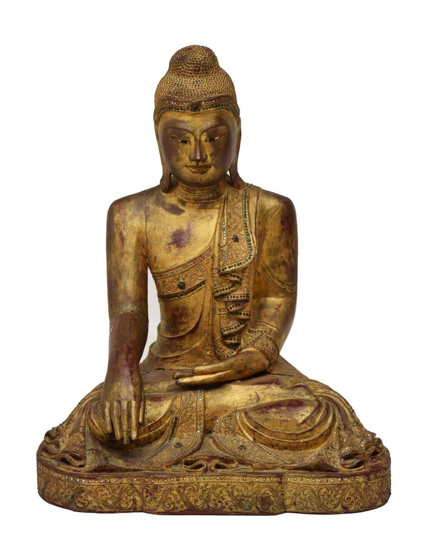 THAI GILT & CARVED SEATED BUDDHA STATUE - 2