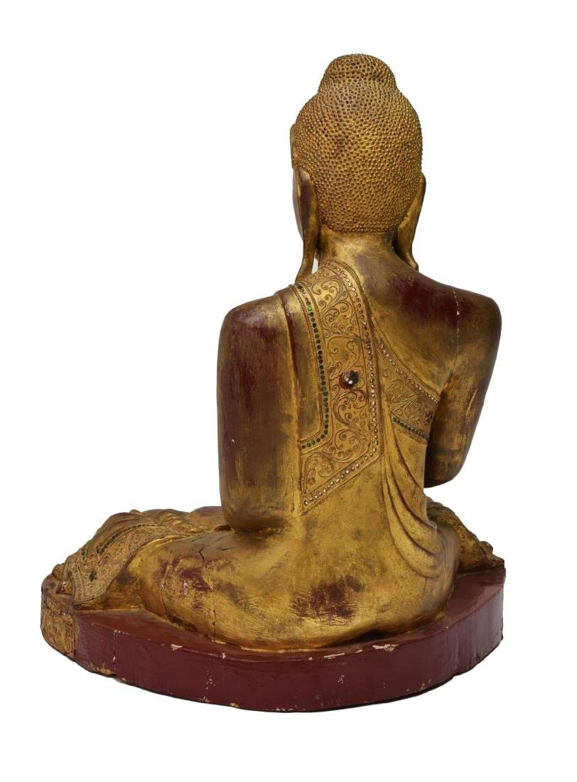 THAI GILT & CARVED SEATED BUDDHA STATUE - 3