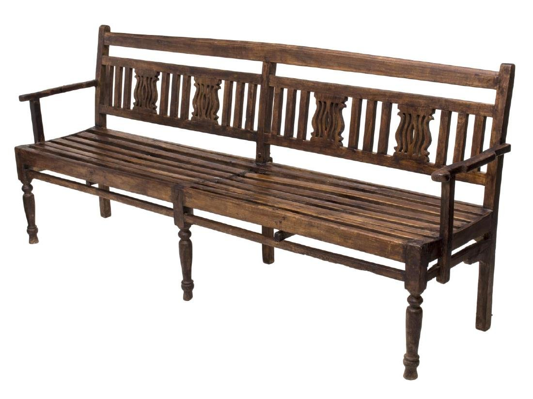 CARVED PIERCED FOUR PERSON TEAKWOOD BENCH, GOA