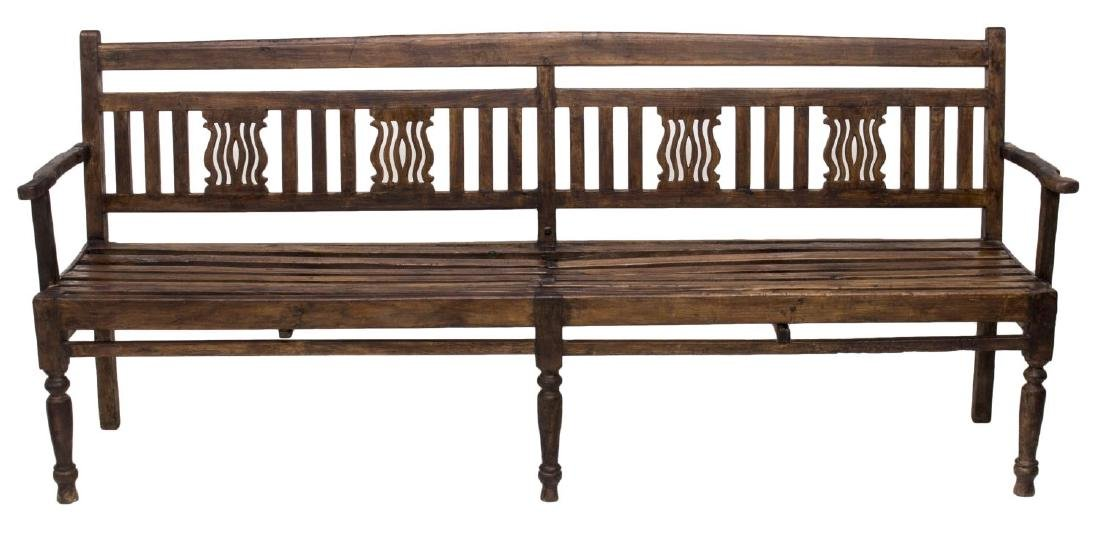 CARVED PIERCED FOUR PERSON TEAKWOOD BENCH, GOA - 2