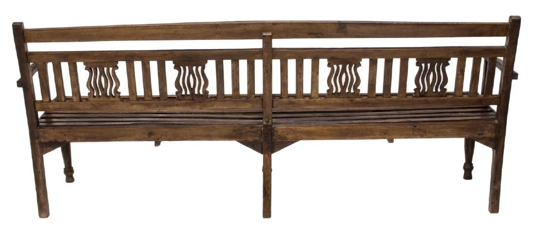 CARVED PIERCED FOUR PERSON TEAKWOOD BENCH, GOA - 3